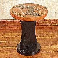 Wood accent table, 'The Lion Guard' - Handmade Wood Accent Table with a Lion from Ghana