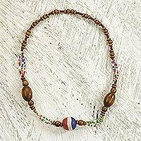 Recycled glass and wood beaded necklace, 'African Promise' - Recycled Glass and Sese Wood Beaded Necklace from Ghana