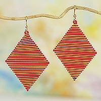 Wood dangle earrings, 'Odo Pa Diamonds' - Colorful Sese Wood Diamond-Shaped Earrings from Ghana