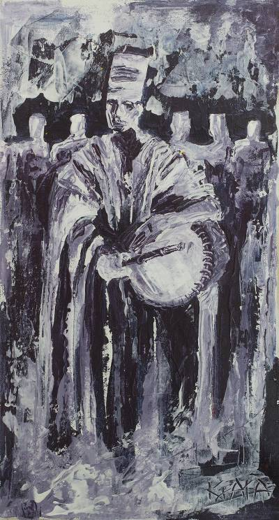 'Sound of Music' - Signed Impressionist Painting of an African Drummer