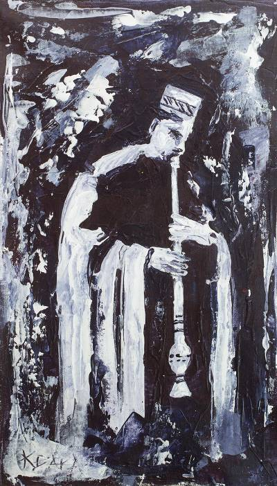 'Royal Musician' - Signed Impressionist Painting of a Flute Player from Ghana