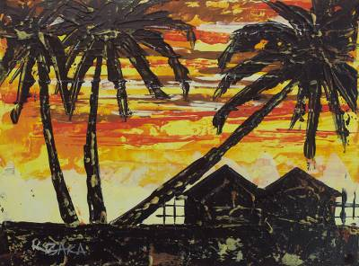 'Sunset I' - Signed Impressionist Painting of Village Houses from Ghana