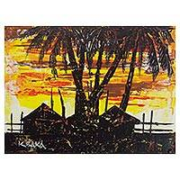 'Sunset II' - Signed Impressionist Painting of Village Houses from Ghana