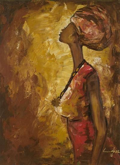 'Female Profile' - Signed Impressionist Painting of a Woman from Ghana