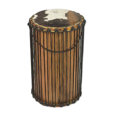 Handcrafted Wood Drum from West Africa
