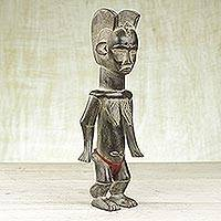 Wood statuette, 'Twin Blessing' - Hand Carved African Sese Wood Dan Statuette from Ghana