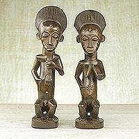 Wood statuettes, 'Blolo Couple' (pair) - Hand Carved Baule Blolo Couple Sese Wood Statuette Pair