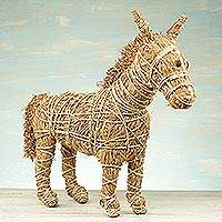 Rattan and raffia sculpture, 'Natural Horse' - Handcrafted Natural Fiber Horse Sculpture from Ghana