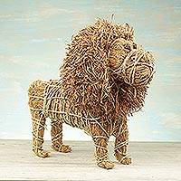 Natural fiber sculpture, 'Wicker Lion' - Handcrafted Natural Fiber Lion Sculpture from Ghana