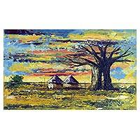 'Ancient Baobab Tree in Saakpuli' - Impressionist Painting of a Tree and Huts from Ghana