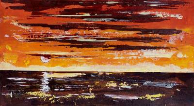 'Sunset Osu I' - Signed Orange Impressionist Painting of the Ocean from Ghana