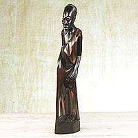 Wood sculpture, 'Old Villager' - Sese Wood Sculpture of an African Man from Ghana