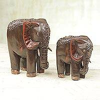 Wood statuettes, 'Royal Duo' (pair) - Two Sese Wood Brown Elephant Statuettes from Ghana