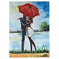 'Love Me' - Signed Love-Themed Impressionist Painting from Ghana