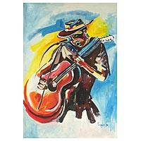 'Only Me' - Signed Expressionist Painting of a Musician from Ghana