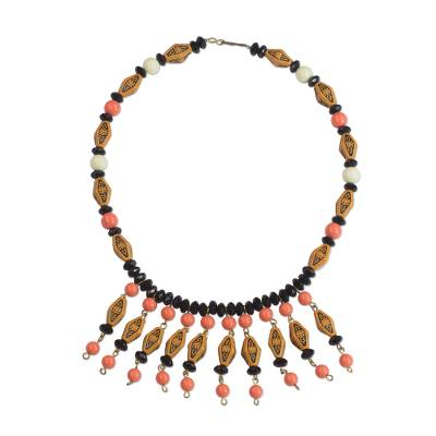 Recycled Plastic Beaded Waterfall Necklace from Ghana