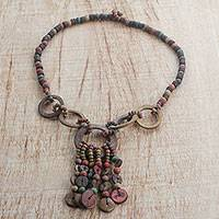 Coconut shell and wood beaded necklace, 'Aspire' - Handmade Coconut Shell Beaded Necklace from West Africa