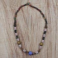 Wood and terracotta beaded necklace, 'Diverse Link' - Handmade Multicolored Beaded Necklace from Ghana