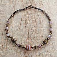 Wood and terracotta beaded necklace, 'Whimsicality' - Handmade Multi-Colored Beaded Necklace from West Africa