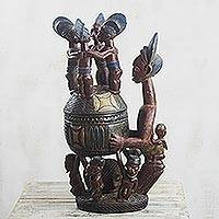 Wood decorative jar, 'Olowe Tribute' - Hand-Carved Sese Wood Replica Decorative Jar from Ghana