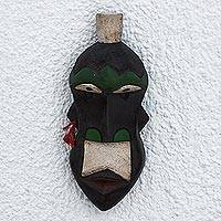 African wood mask, 'Mustachioed Warrior' - Hand Carved Sese Wood White Mustache Warrior Mask from Ghana