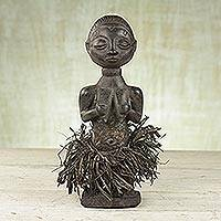 Wood sculpture, 'Baule Woman' - Sese Wood and Raffia Sculpture of a Woman from Ghana