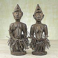 Wood sculptures, 'Krobo Twins' (pair) - Two Sese Wood and Raffia Man and Woman Sculptures from Ghana