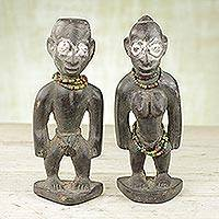 Wood sculptures, 'Ewe Dolls' (pair) - Two Sese Wood and Recycled Glass Sculptures from Ghana