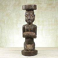 Wood sculpture, 'Yoruba Man' - Handcrafted Sese Wood Sculpture of a Yoruba Man from Ghana