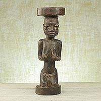 Wood sculpture, 'Yoruba Woman' - Handcrafted Sese Wood Sculpture of a Yoruba Woman from Ghana