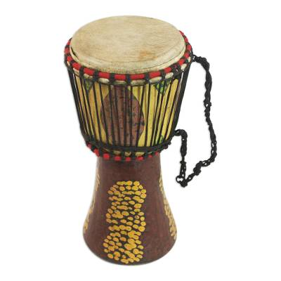 Sese Wood Djembe Drum in Yellow and Brown from Ghana