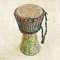 Wood djembe drum, 'Colorful Pebbles' - Hand-Painted Sese Wood Djembe Drum from Ghana