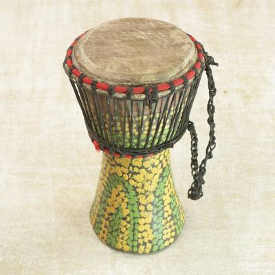 Wood djembe drum, Colorful Pebbles