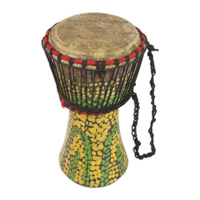 Hand-Painted Sese Wood Djembe Drum from Ghana
