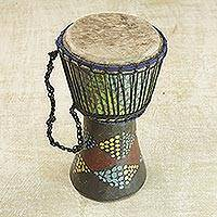 Wood djembe drum, 'Pebble Triangles' - Handcrafted Colorful Sese Wood Djembe Drum from Ghana