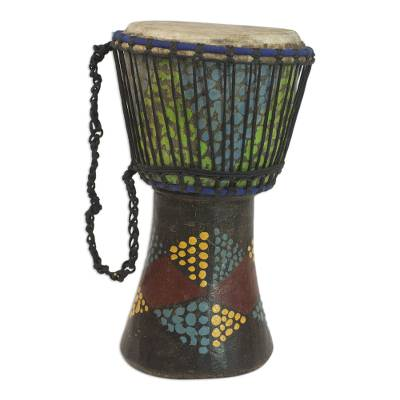 Handcrafted Colorful Sese Wood Djembe Drum from Ghana