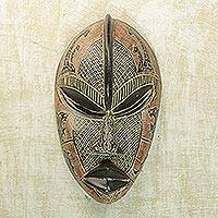 African wood mask, 'Adetokunbo' - Red and Black Hand Carved Sese Wood Mask with Animals