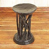 Wood pedestal, 'Ghanaian Scaffold' - Handcrafted Brown Sese Wood Pedestal from Ghana