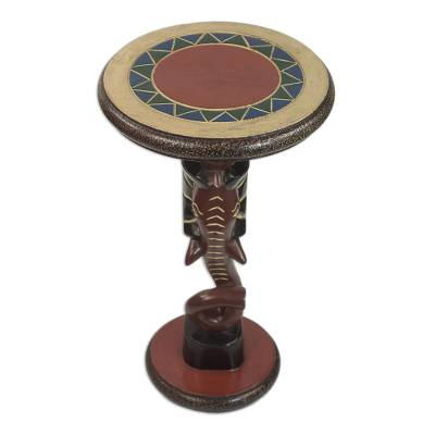 Wood accent table, 'Red Elephant' - Handcrafted Sese Wood Elephant Accent Table from Ghana
