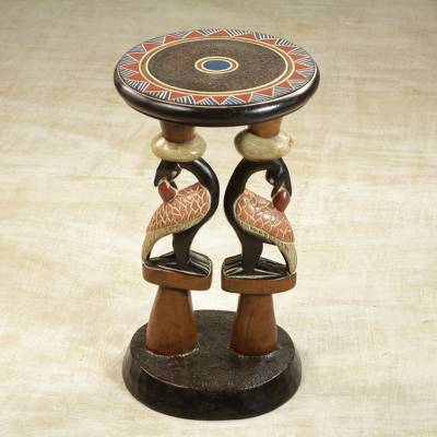 Wood accent table, 'Sankofa Duo' - Hand-Carved Cedarwood Adinkra Accent Table from Ghana