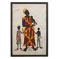 Batik wall art, 'Mother Africa II' - Cultural Batik Wall Art of a Mother and Children from Ghana