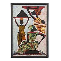 Cotton batik wall art, 'Porters' - Handcrafted Batik Painting of African People from Guatemala