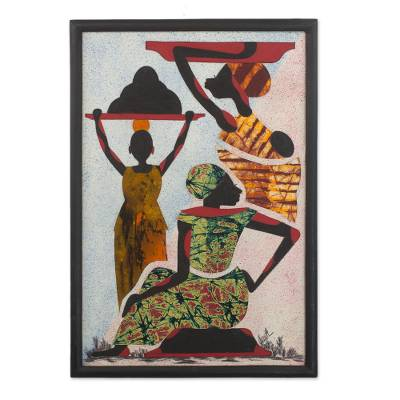 Handcrafted Batik Painting of African People from Guatemala