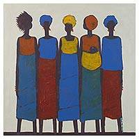 'African Style' - Stylized Acrylic Portrait of Five Modern African Women