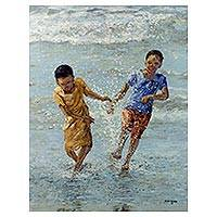 'Fun at the Fishing Bay I' - Ghanaian Original Impressionist of Children at the Seashore