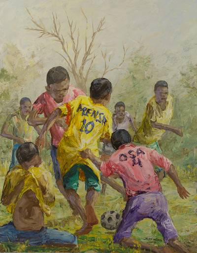 'Key Player I' - Ghanaian Original Painting of Children Playing Soccer
