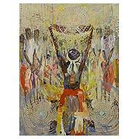 'This We Offer' - Signed Expressionistic Painting of a Ghanaian Ceremony