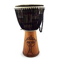 Wood djembe drum, 'Gye Nyame and Egyptian Woman' - Wood djembe drum