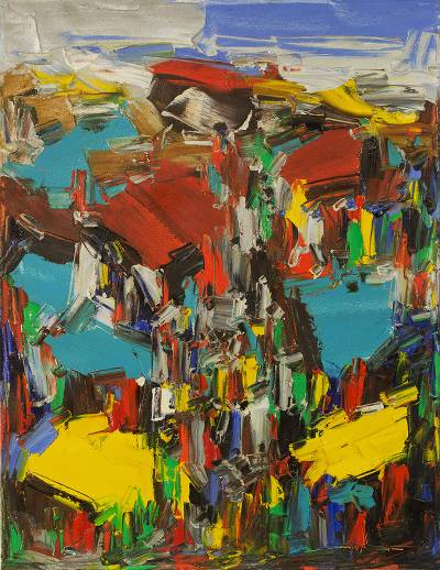 'Market Square' - Signed Multicolored Abstract Painting from Ghana