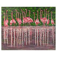 'Pink Reflections' (2017) - Original Acrylic Painting of Flamingos in Water